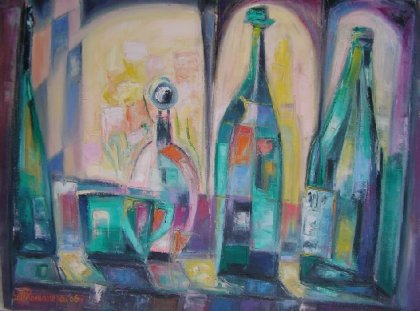 """Still Life with bottles""(windows)"